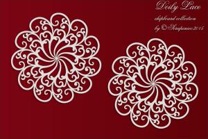 Doily Lace - 2 Big rosettes - 2 Duże rozetki