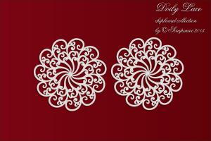 Doily Lace - 2 Medium rosettes - 2 Średnie rozetki