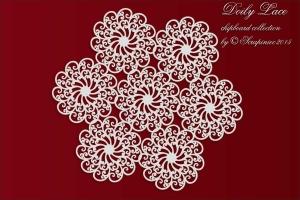 Doily Lace - 7 rosettes doily - serwetka 7 rozetek