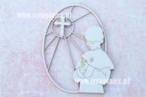 Obrazek - witraż owalny: chłopiec i krzyż