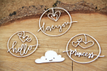 Clouded hearts - princess - chipboard set